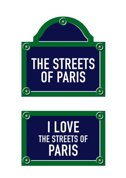 ilustraciones, imágenes clip art, dibujos animados e iconos de stock de rue de placa de parisienne - señalización vial