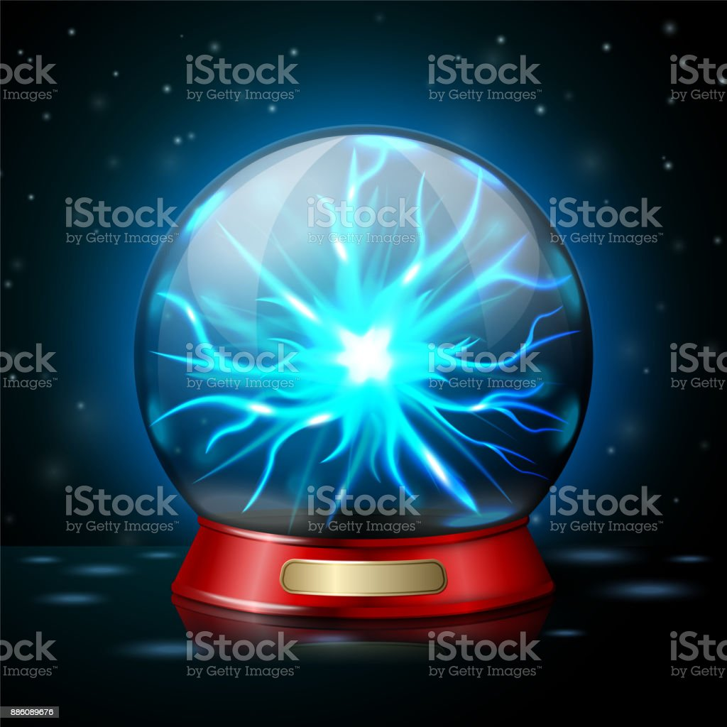 Plasma ball lamp with glowing electricity. Vector vector art illustration