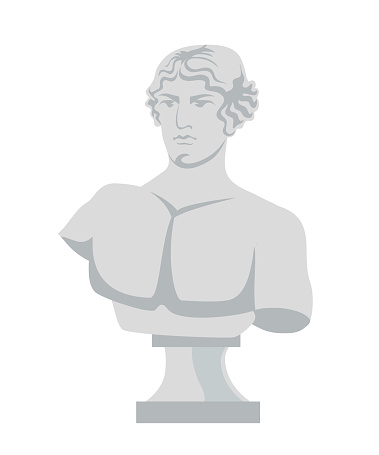 Plaster bust flat vector illustration. Classical roman sculpture isolated on white background. Element of greece statue for art school. Artist item, decorative marble object. Antique masterpiece