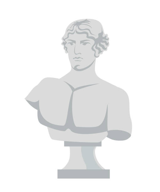 Plaster bust flat vector illustration Plaster bust flat vector illustration. Classical roman sculpture isolated on white background. Element of greece statue for art school. Artist item, decorative marble object. Antique masterpiece fine art statue stock illustrations