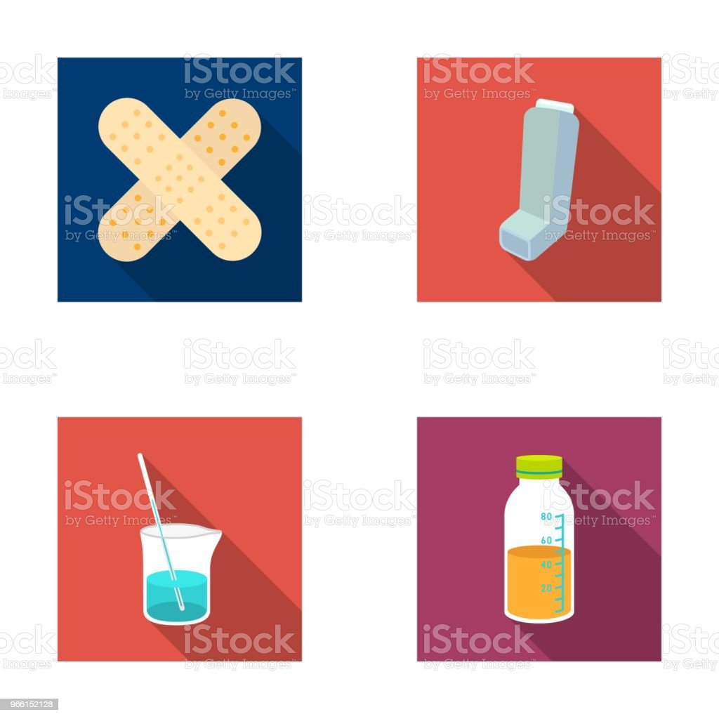Plaster, inhaler, solution in a glass.Mtdicine set collection icons in flat style vector symbol stock illustration web. - Royalty-free Bottle stock vector