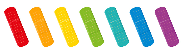 Plaster set. Colorful collection with seven different colors - red, orange, yellow, green, cyan, blue and purple adhesive plasters. Isolated vector illustration on white background.