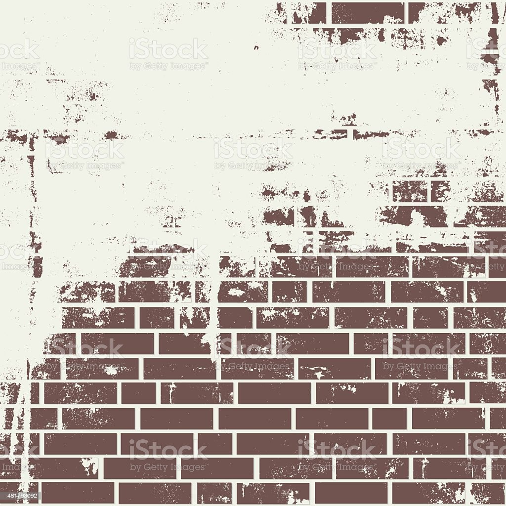 Plastered brick wall. vector art illustration