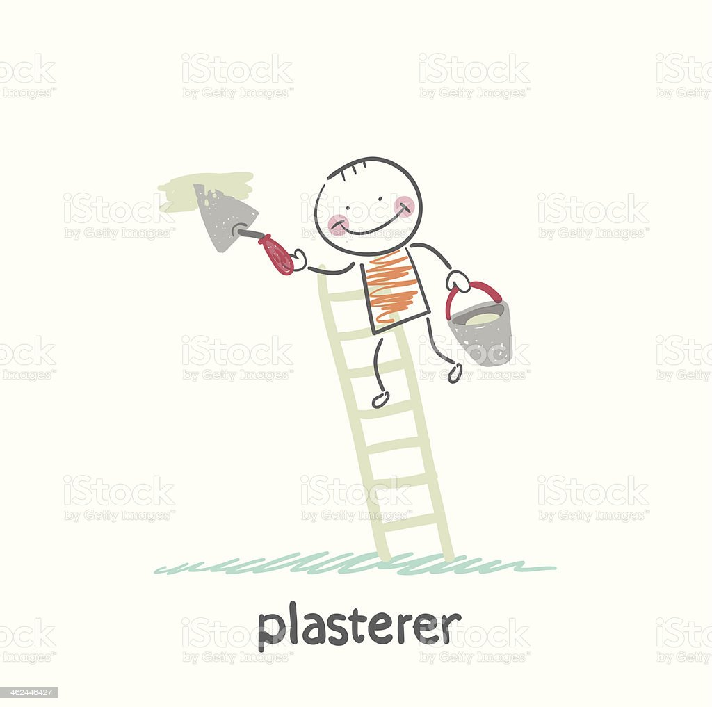 plasterer on the stairs holding a bucket vector art illustration