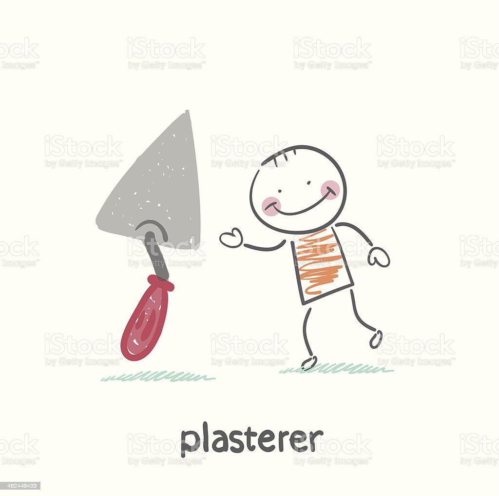 plasterer with shovel tool vector art illustration
