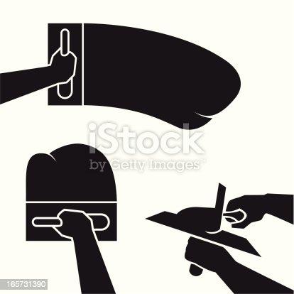 Plastering Illustration Silhouette Stock Vector Art Amp More