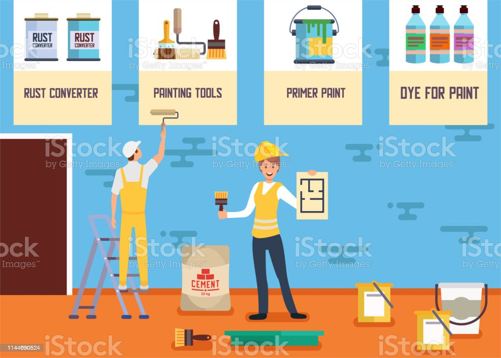 Plastering Painting Service Banner Landing Page Stock Illustration Download Image Now Istock