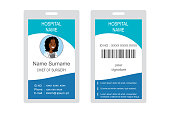 Plastic and Laminated Medical Badge or id card, front and back view,african american doctor female face,isolated on white background,flat template with place for photo, vector illustration