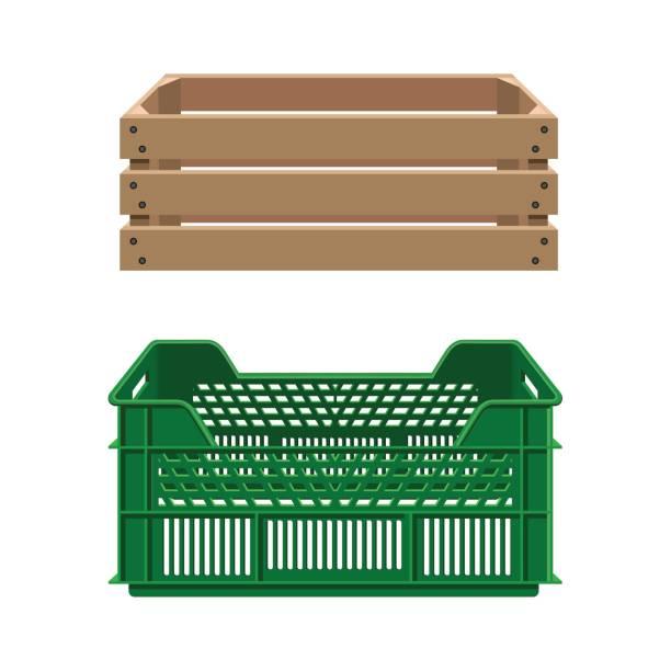 illustrazioni stock, clip art, cartoni animati e icone di tendenza di plastic and wooden crates - prodotti supermercato