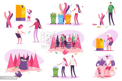 Family clean up beaches and forests vector illustration.