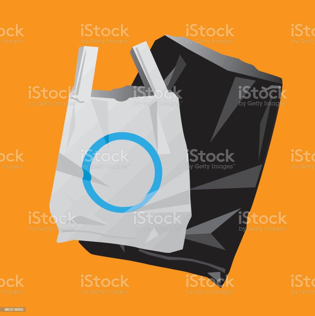 Saco de plástico e o saco preto - Vetor de Ilustração e Pintura royalty-free