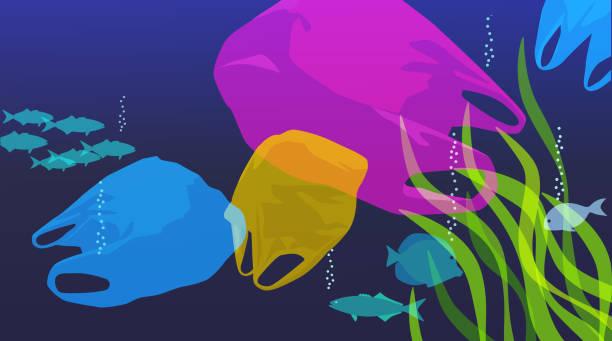 Plastic Bags in sea vector art illustration