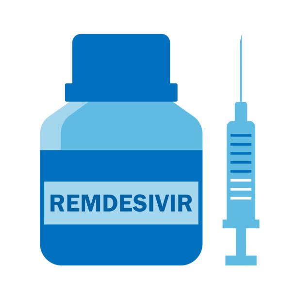 ilustraciones, imágenes clip art, dibujos animados e iconos de stock de frasco azul plástico con medicamento antiviral remdesivir y jeringa inyectable, tratamiento del caronavirus covid-19 y vacunación - remdesivir