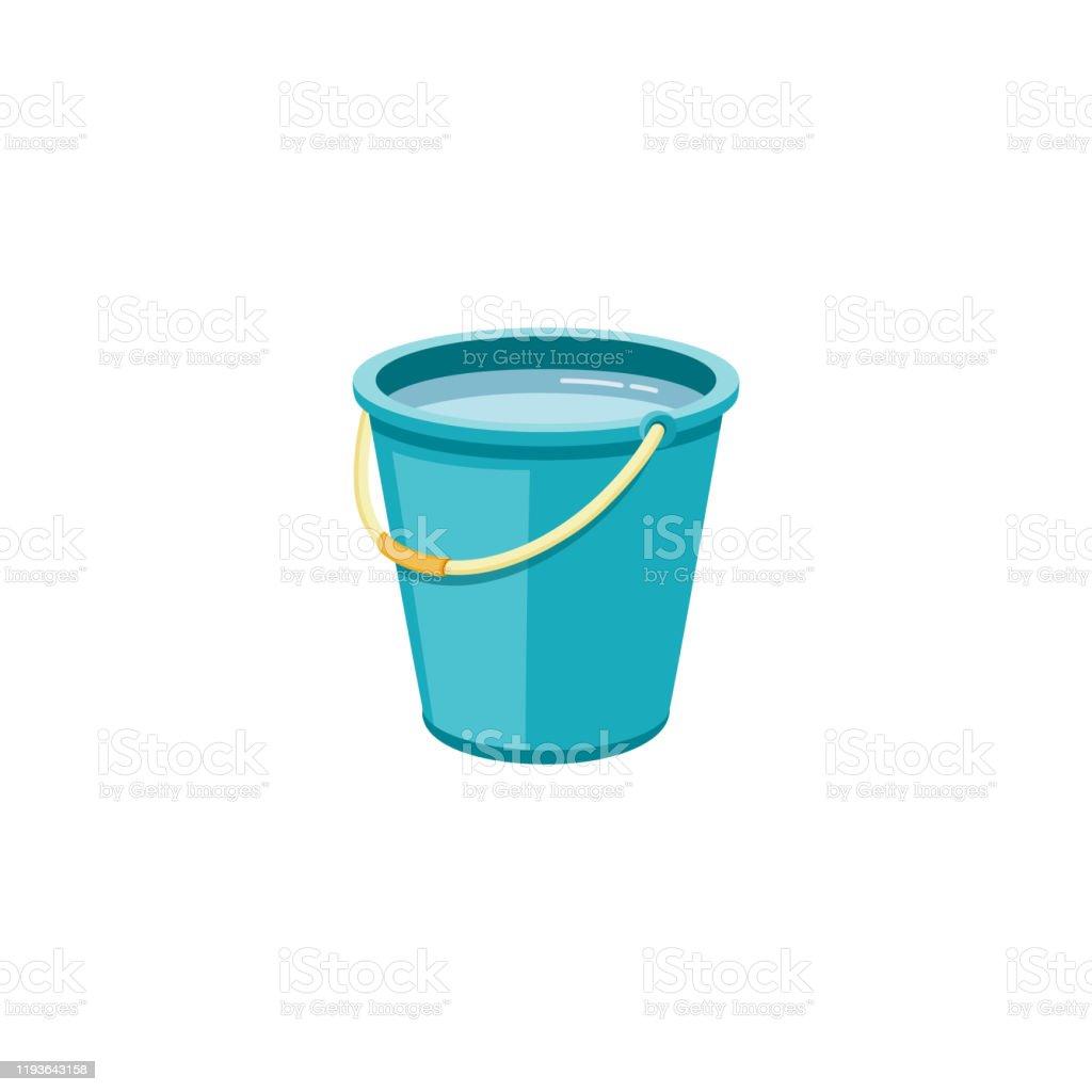 Plastic blauwe emmer met water voor huishoudelijke reiniging en thuis wassen. - Royalty-free Apparatuur vectorkunst