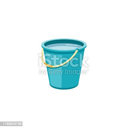 istock Plastic blue bucket with water for household cleaning and home washing. 1193643158