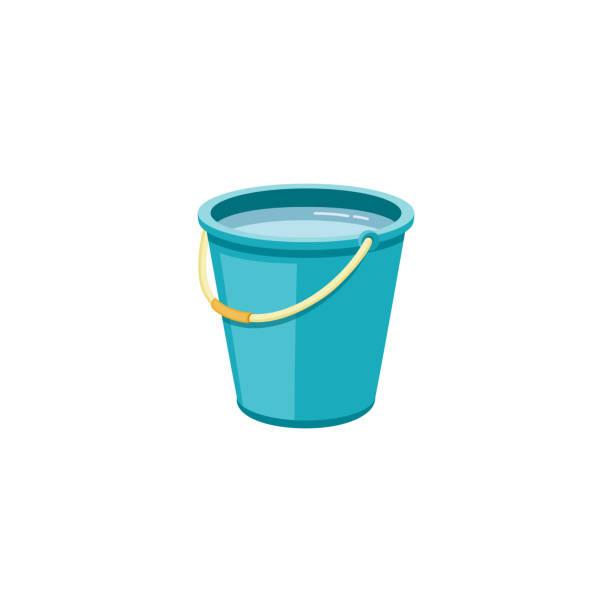 stockillustraties, clipart, cartoons en iconen met plastic blauwe emmer met water voor huishoudelijke reiniging en thuis wassen. - emmer