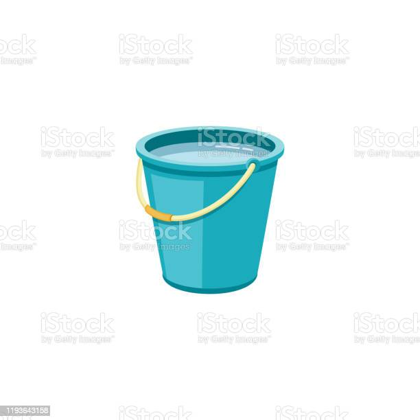 Plastic Blauwe Emmer Met Water Voor Huishoudelijke Reiniging En Thuis Wassen Stockvectorkunst en meer beelden van Apparatuur