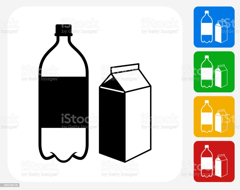 Plastic Bottle and Cardboard Container Icon Flat Graphic Design vector art illustration