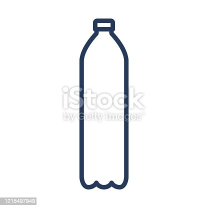 Pet plastic bottle icon. Plastic bottle for beverage, beer, soda or cola outline icon. Vector illustration.