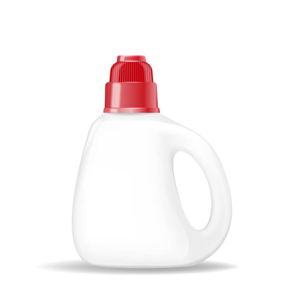 plastic bottle for laundry detergent, empty for your advertisement. - bleach stock illustrations