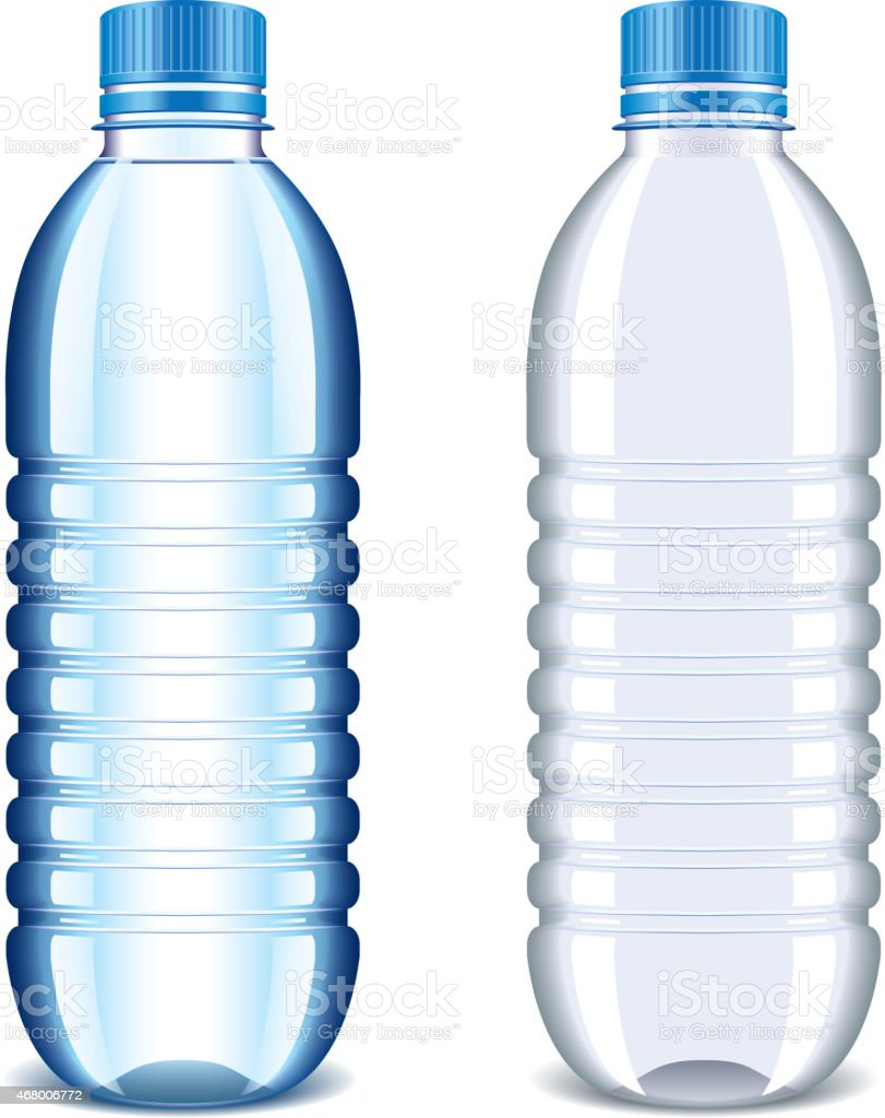 Water Bottle Vector: Plastic Bottle For Water Isolated On White Vector Stock