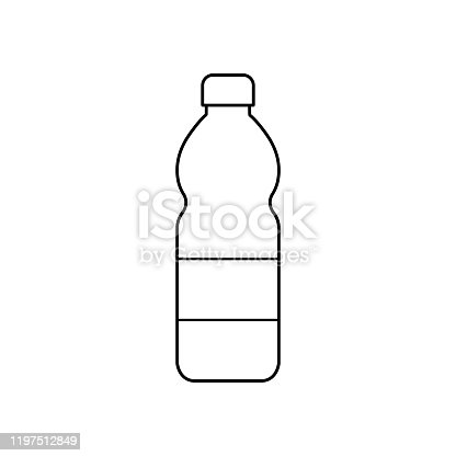 Plastic bottle icon. vector stock. black simple flat outline illustration isolated eps10 on white background