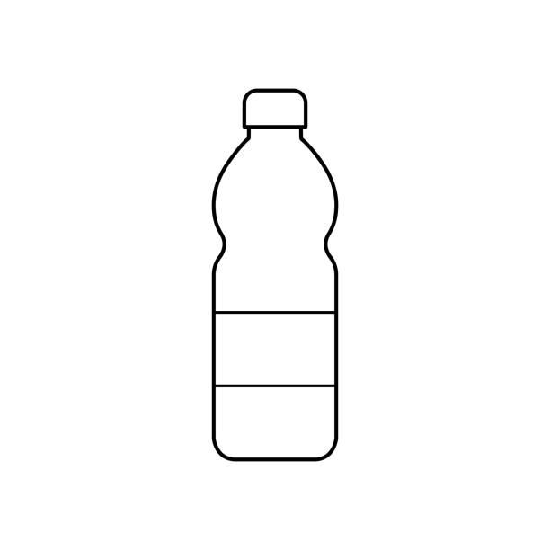 illustrations, cliparts, dessins animés et icônes de icône en plastique de bouteille. stock de vecteurs. illustration plate noire de contour d'ensemble d'isolement eps10 sur le fond blanc - bouteille d'eau