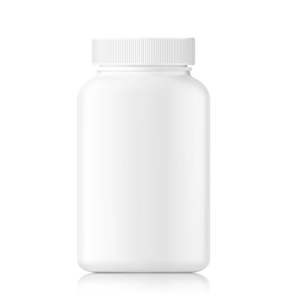Plastic bottle mockup isolated on white background. Can be used for medical, cosmetic. Vector illustration. EPS10. nutritional supplement stock illustrations
