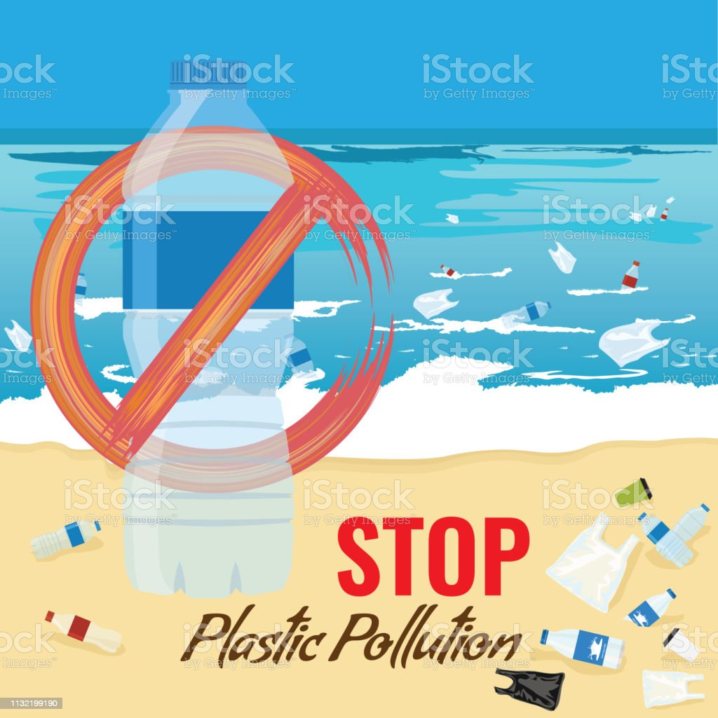 Plastic bottle mockup with no sign. Pollution of ocean, sea or beach...