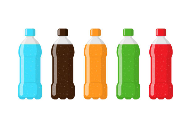 illustrazioni stock, clip art, cartoni animati e icone di tendenza di plastic bottle package set with blue water red brown orange green soda beverage. carbonated drink with bubbles in tare flat isolated vector illustration - fruit juice bottle isolated
