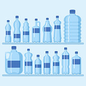 Plastic bottle set vector illustration. Different sizes of carto