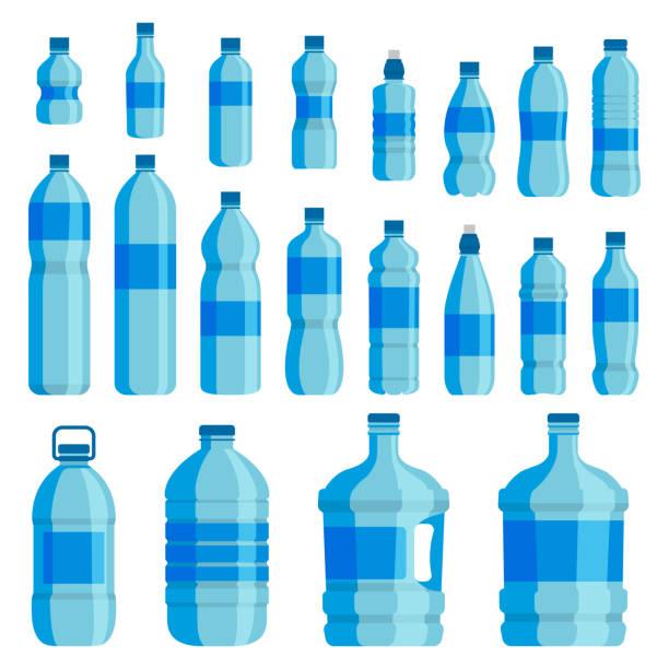 illustrations, cliparts, dessins animés et icônes de jeu de l'eau de bouteille en plastique - bouteille d'eau