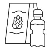 Plastic bottle with beer and shopping bag thin line icon, Craft beer concept, present bag with beer sign on white background, package with beer icon in outline style for mobile. Vector graphics