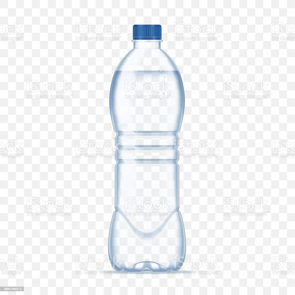 Botella de plástico con agua mineral en fondo transparente alfa. Ilustración de vector de foto botella realista maqueta. - ilustración de arte vectorial