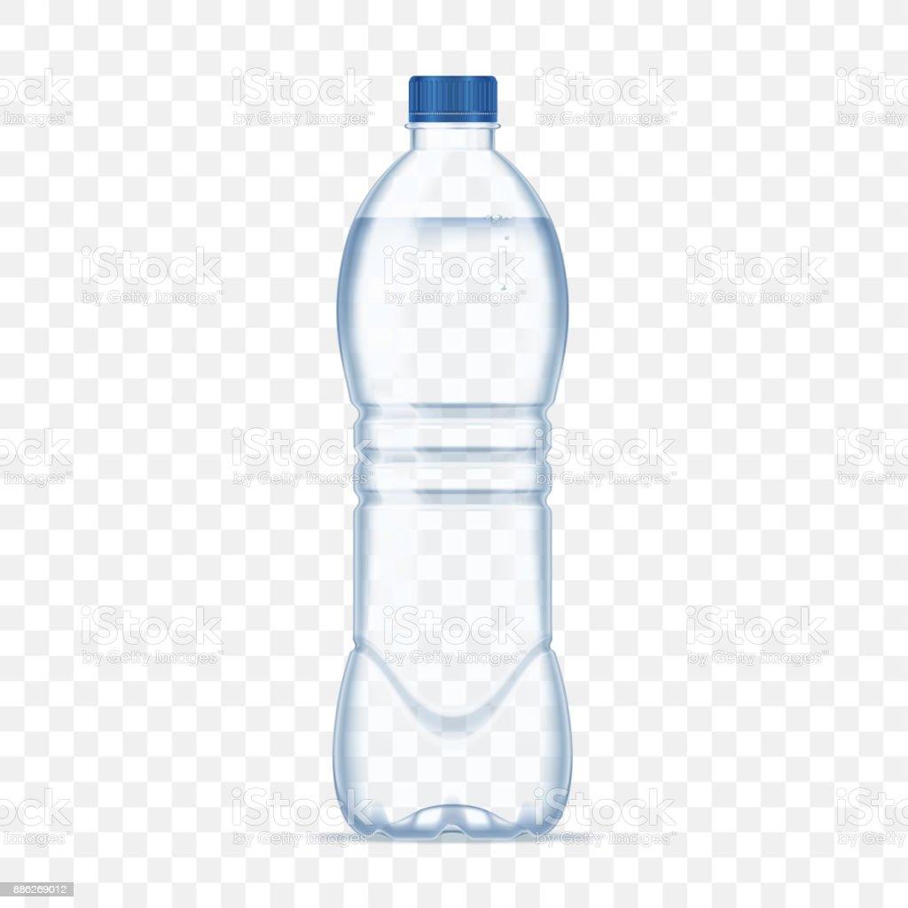 Plastic bottle with mineral water on alpha transparent background. Photo realistic bottle mockup vector illustration. vector art illustration