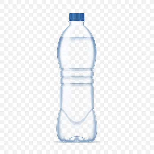 illustrations, cliparts, dessins animés et icônes de bouteille en plastique avec de l'eau minérale sur fond transparent alpha. illustration vectorielle de photo réaliste bouteille maquette. - bouteille d'eau