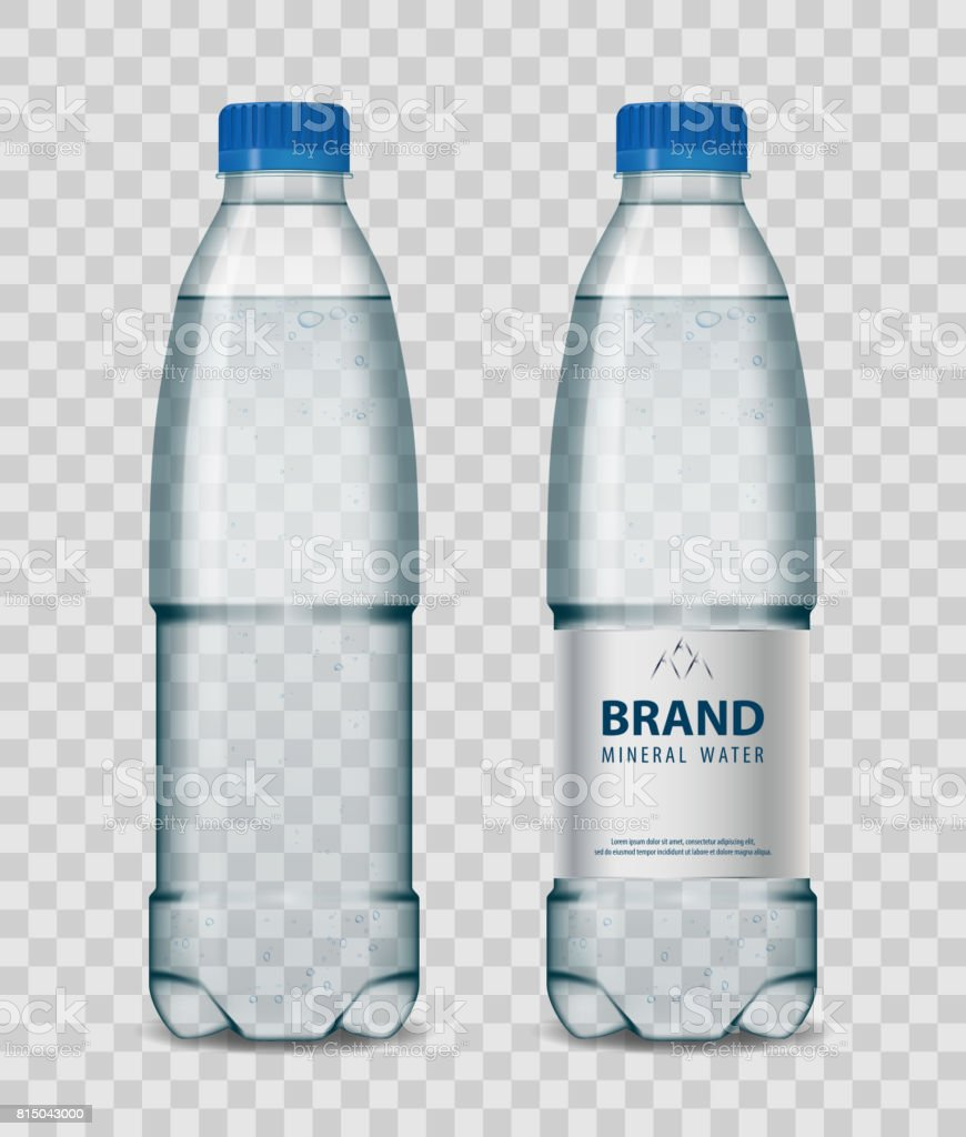 Plastic bottle with mineral water with blue cap on transparent background. Realistic bottle mockup vector illustration vector art illustration