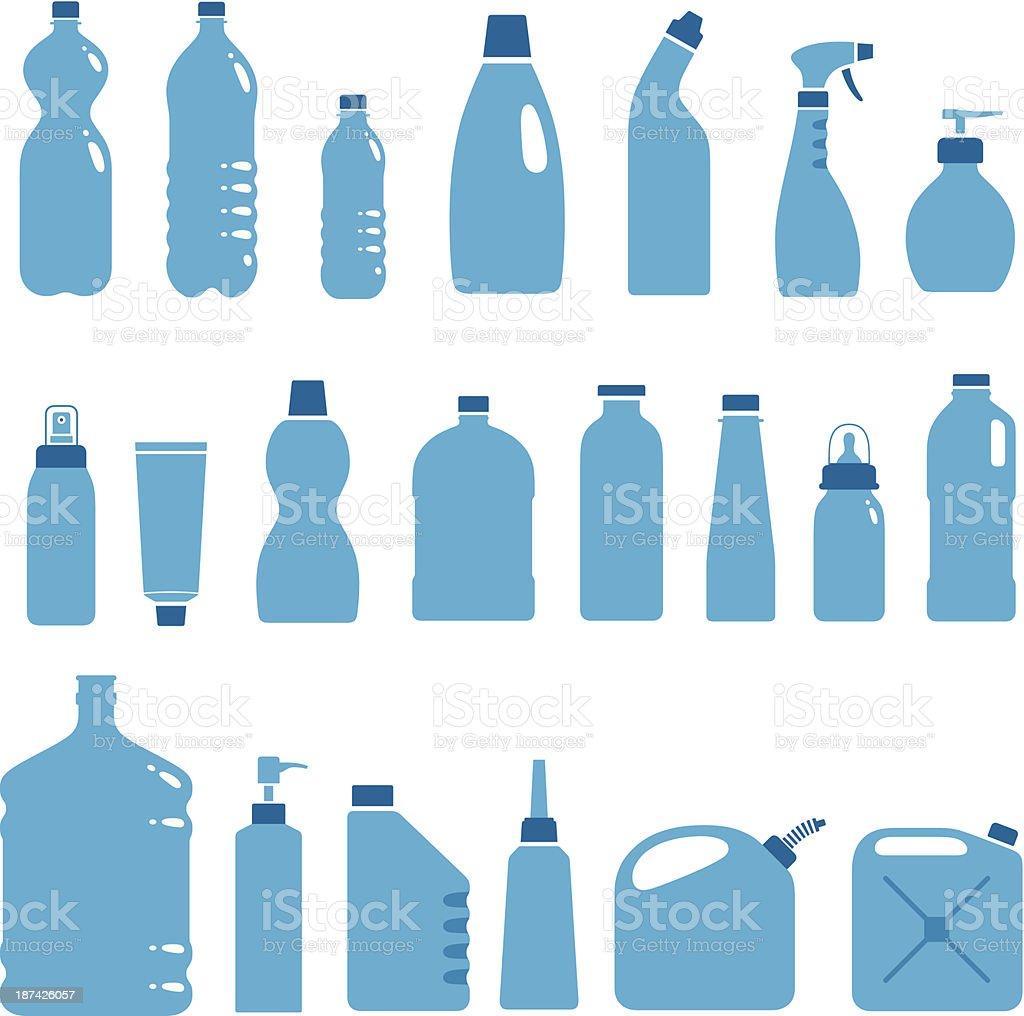 Water Bottle Vector: Plastic Bottles And Cans Stock Vector Art 187426057