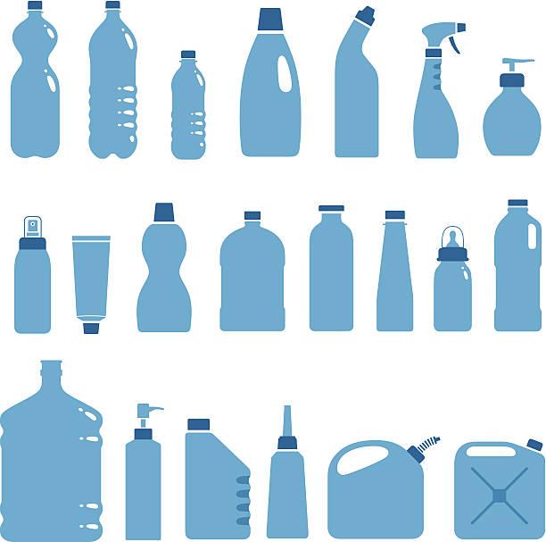 illustrations, cliparts, dessins animés et icônes de bouteilles en plastique et les canettes. - bouteille d'eau
