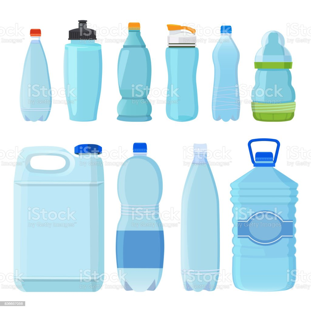 Plastic Bottles For Water Of Different Types And Sizes Stock