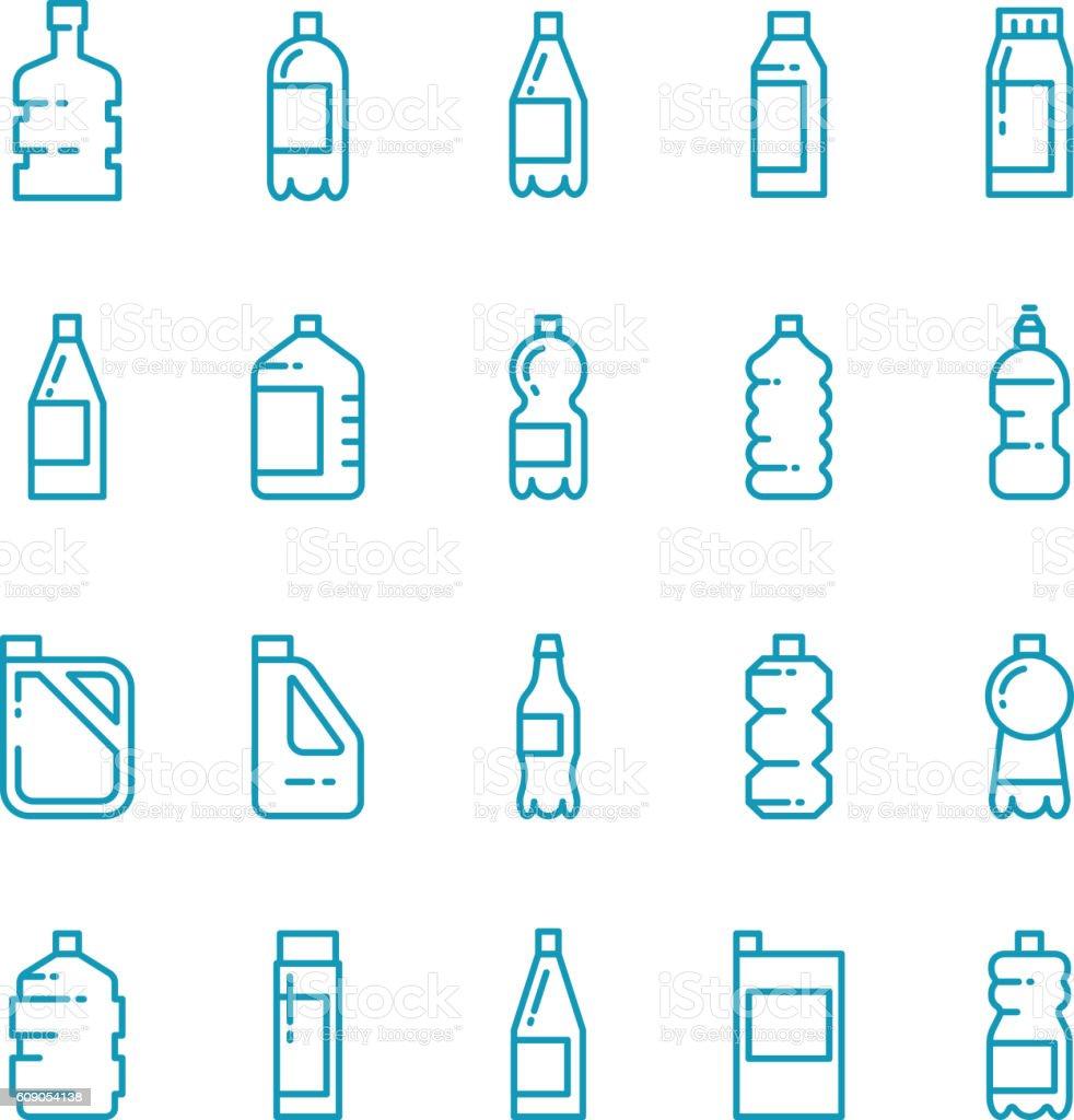 Plastic bottles line vector icons set - ilustración de arte vectorial