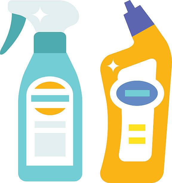 illustrazioni stock, clip art, cartoni animati e icone di tendenza di bottiglie di plastica di prodotti per la pulizia della casa chimica piatto illustrazione vettoriale - box name
