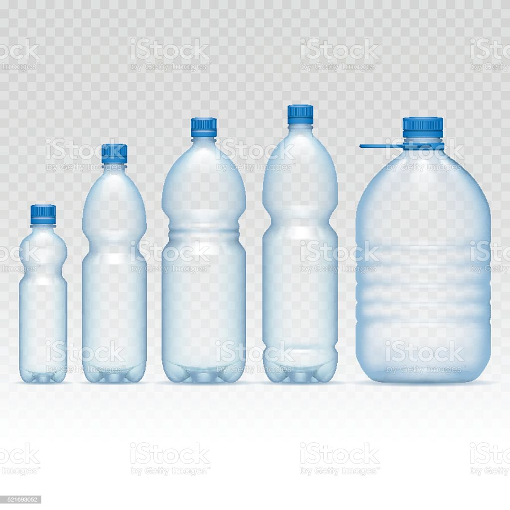 Plastic bottles set vector art illustration