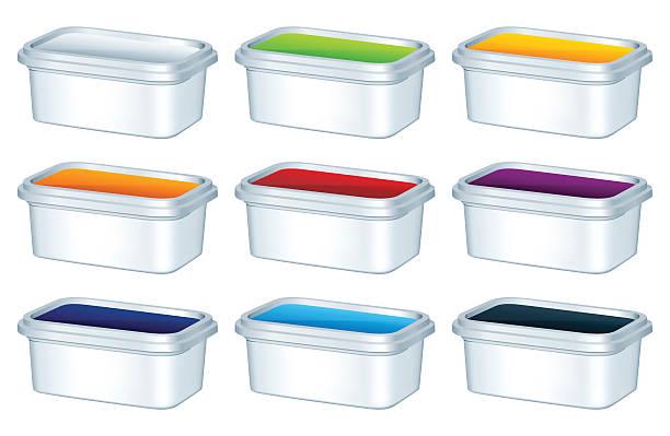 illustrazioni stock, clip art, cartoni animati e icone di tendenza di scatole di plastica - gelato confezionato