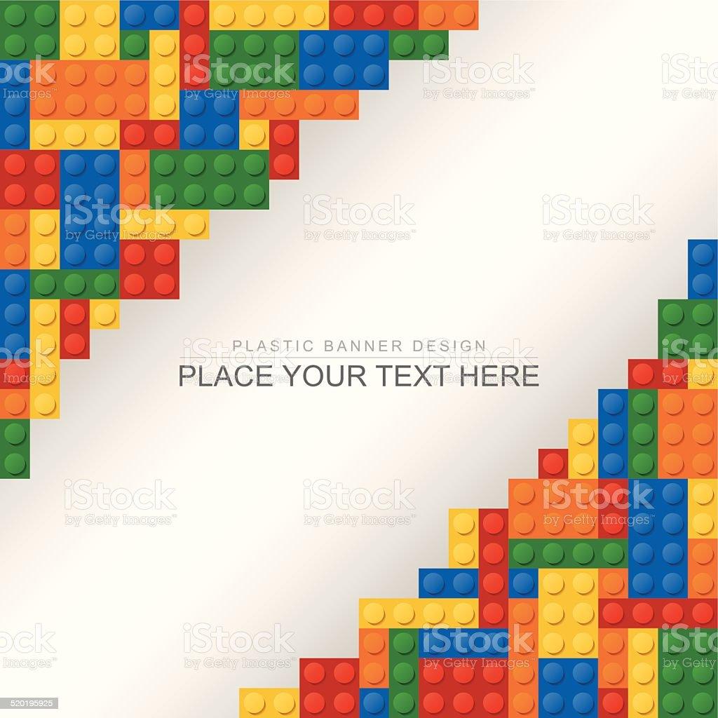 Plastic brick banner vector art illustration