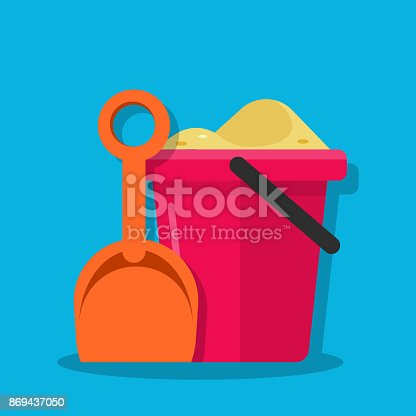 istock Plastic bucket and shovel. Children set for playing with sand. Inventory for children play in the sandbox or on the beach. Vector flat illustration. 869437050