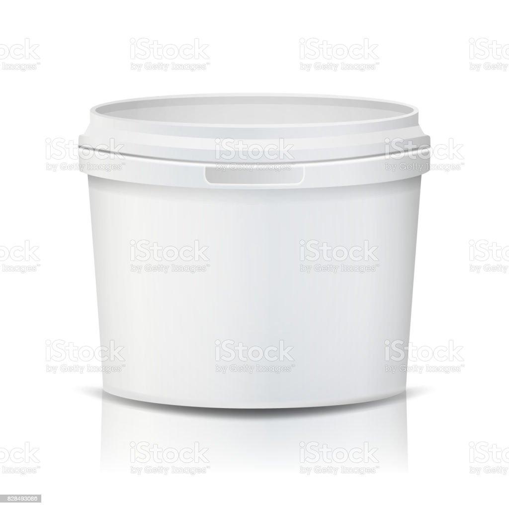 Balde plástico Vector. Realista. Vazio limpo. Balde de plástico branco, para sobremesa, iogurte, sorvete, Sream azedo. Isolado no fundo branco ilustração - ilustração de arte em vetor
