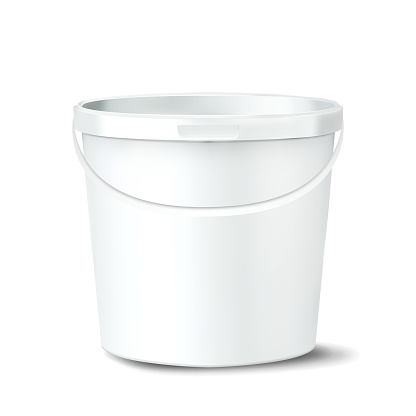 Plastic Bucket Vector. White Claen Empty Blank. Classic Jar With Handle For Paint. Container. Isolated Mockup Realistic Illustration