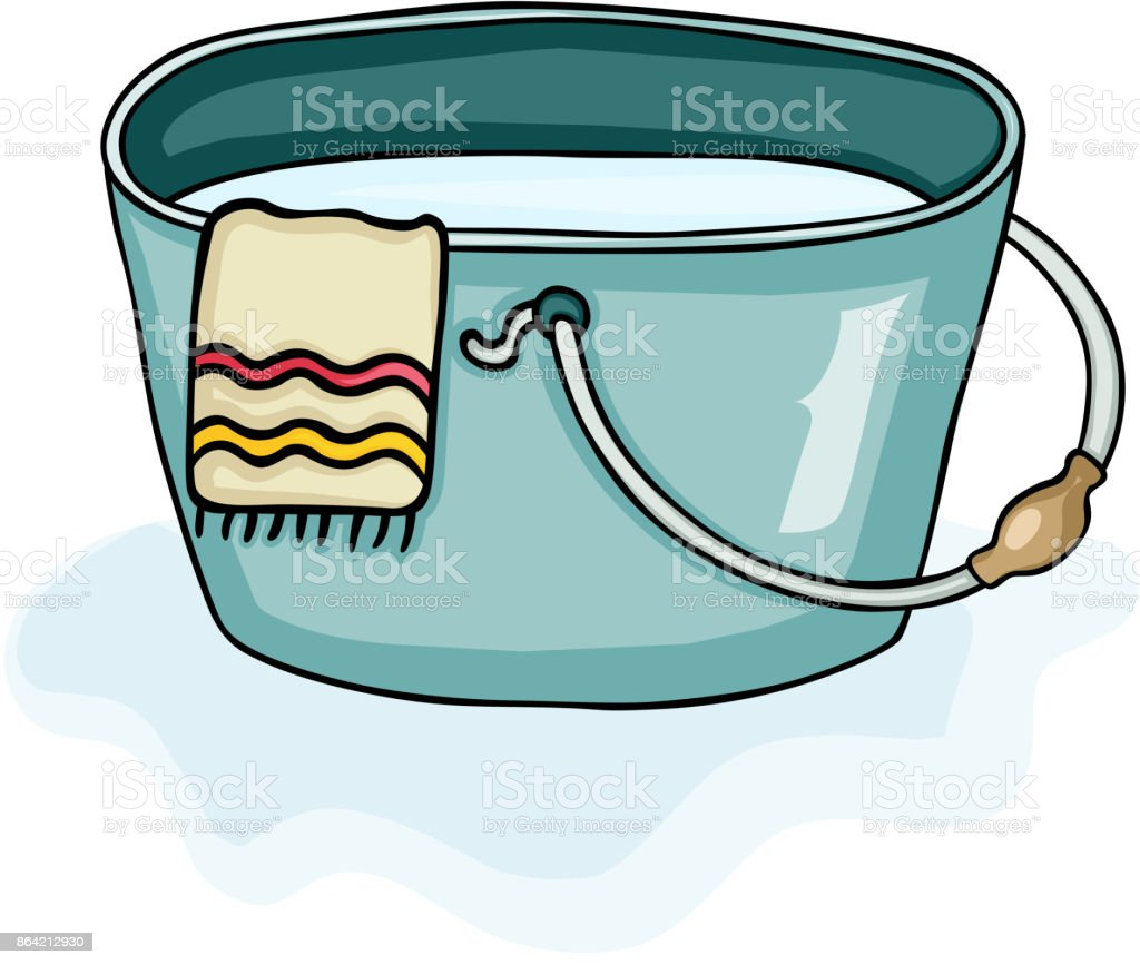 Plastic bucket with towel and full of water royalty-free plastic bucket with towel and full of water stock vector art & more images of barrel