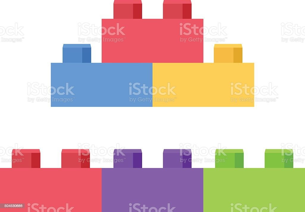 Plastic building block - toy construction set vector art illustration